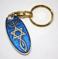 Schlüsselanhänger Davidstern & Menora Glücksbringer Amulett Blau Geschenkidee