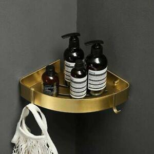 New Wall Mounted Space Aluminum Shower Corner Shelf  Storage Rack Brushed Gold