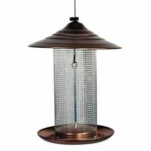 Woodlink Tube Bird Feeder Sunflower Seed Coppertop Brushed-Copper Hanging Cable