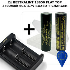 2x BATTERY BESTKALINT 18650 3500mAh 60A HIGH DRAIN BATTERIA+SMART CHARGER CARICA