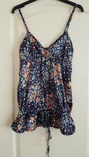 Stradivarius Ladies Strappy Blouse Blue Floral Size M