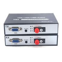 VGA extenders Video Audio over Fiber optic 20Km Transmitter Receiver 1080P FC
