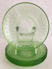 "Vintage Depression Glass 4 Saucers 5-3/4"" Diameter Raindrops Green Federal Glass"