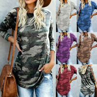 Fashion Women's Camouflage Printed O-neck Long Sleeve Pullover Blouse Tops Shirt
