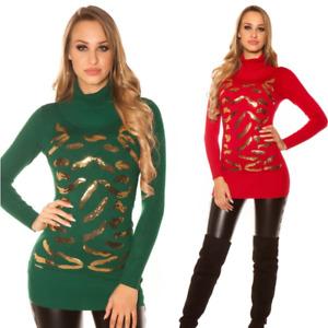 Maglione pullover felpa in maglia inverno donna lungo basic dolcevita lupetto