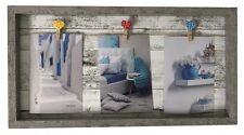 Fotorahmen Bilderrahmen grau für 3 Fotos mit Herz-Klammern 42x22 Kunststoff Neu