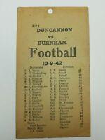 DUNCANNON VS BURNHAM HIGH SCHOOL PENNSYLVANIA FOOTBALL 10-9-1942 TEAM ROSTERS