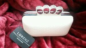BNWT ivory clutch bag PU silver knuckle rings wedding evening party prom bridal