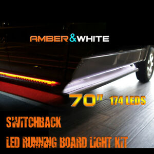 "Running Board and Step Bar Led Light Kit/ 70"" long/Switchback Amber-White Color"