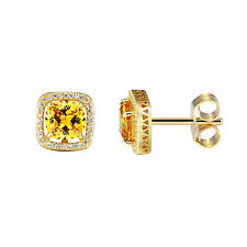 Canary Solitaire CZ Earrings 14k Gold Finish CZ Studs Sterling 925 Silver 12mm