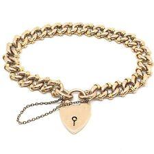 Delightful Antique Edwardian 9ct Rose Gold Link Charm Bracelet padlock C.1900