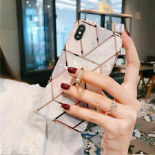 For iPhone 11 Pro Max 8 7 XR Marble Glitter Case with Diamond Ring Stand Holder