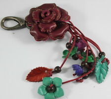 Burgundy Red Rose Genuine Leather Keychain Purse Handbag Flower Charm Handmade