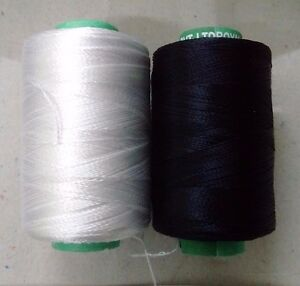 BLACK & WHITE - 150/2 Denier Viscose Rayon Thread Yarn-Hand & Machine Embroidery