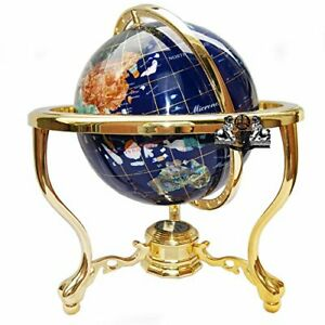 "14"" Blue Ocean Gold ZINC ALLOY table stand Gem MOP Gemstone World MAP globe"
