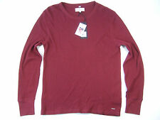 FARRELL BURGUNDY LARGE THERMAL CREWNECK SWEATER MENS NWT NEW