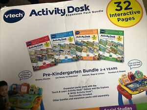 VTech Touch and Learn Activity Desk Expansion Bundle, NO CARTRIDGES/ 2 MISSING