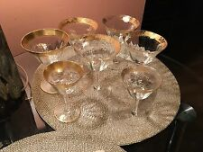 Vintage set of 5 Crystal Glasses Gold Band Water Goblet Verge  5x3,9 +FREE GIFT