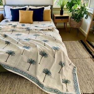 AZKA BLUE Boho Palm Trees Kantha Quilt - Default Title