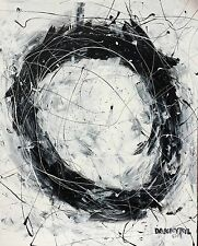 Large Original Modern Black White Fine Art Abstract Painting Danny Byl Signed