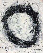 Original Modern Black White Art Contemporary Abstract Painting Dan Byl Huge 4x5'