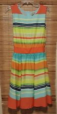 J Taylor Womens SZ 14 Striped Fit and Flare Summer Dress Tie Waist Knee Length