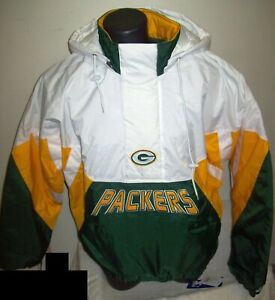 GREEN BAY PACKERS Limited Ed NFL Starter Hooded Half Zip Pullover Jacket WHITE