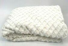 Vintage Chenille Quilt White Coverlet Bedspread Diamond Diagonal 76 x 104