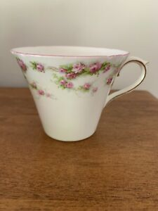Vintage Shelley orphan cup, pink roses on white, pink rim, some gilding