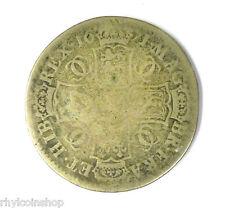 1671 CHARLES II BRITISH SILVER HALF CROWN COIN