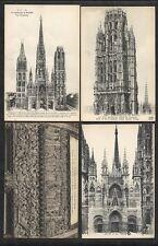 4 CPA N&B VIERGES Cathédrale  ROUEN Tour de beurre Tympan Portail libraires ND