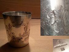 ancienne timbale métal argenté décor végatal poinçon cailar bayard début  XX ème