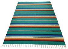 776 Seafoam Mexican Thick Serape Saltillo Falsa Blanket Classic Original Teal