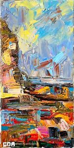 IMPRESSIONISM KNIFE PAINTING CANVAS INTERIOR DECORATION FOR OFFICE THICK ACRYLIC