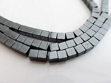 1 brins 4mm x 4mm non-magnétique noir hématite carré cube perles (GB1067)