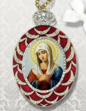 Extreme Humility Sorrow Russian Icon Pendant Crown Madonna Medal Chain Easter