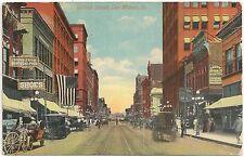 Scene on Walnut Street in Des Moines IA Postcard 1917