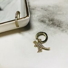 iFocus!Dinosaur earrings 14k gold plating.it unmatched unique