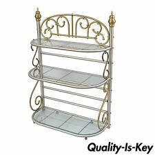 Vtg Small French Style Bakers Rack Scrolling Steel & Brass Glass Shelves 50h 37w
