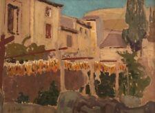 Alfred Lesbros. Rue pavoisée;Villeneuve les Avignon , Huile sur carton v160