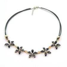 Black Flowers Choker Necklace Wax Cord Chain Floral Daisy Charm Pendant