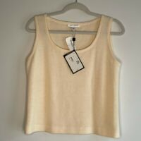 St John Womens Tank Top Sweater Beige Sleeveless Scoop Neck Pullover Wool S New