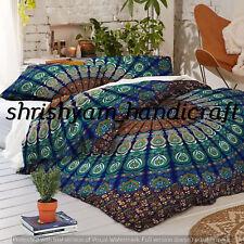 Peacock Indian Cotton Mandala Duvet Doona Cover Blanket Boho Bedding Queen Size