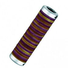 Bicycle Leather Donut Grips (Purple/Brown) Brushed Alloy Ends