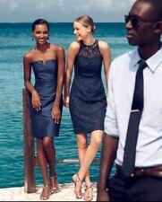 J CREW Factory Bleu Marine Dentelle Florale Fourreau Dress US 2 UK 6