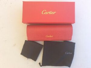 CARTIER Eyeglasses Hard Case BOX/CASE Red Leather FRANCE Magnetic Closure. New