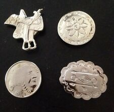 4 Silver Tone Button Covers South Western Themed Saddle 1913 Indian Head Penny