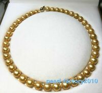 "AAAAA 11-12 mm Natural round south sea golden pearl necklace 18"" 14K Gold"