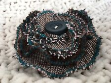 Blue / Green corsage with pin Handmade tweed fabric flower brooch, Brown /