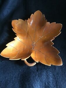 Hand Made Italian Wooden Grape Leaf Dish.